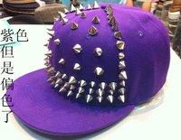 Мужская бейсболка Personality trend of pure hand rivet cap affixed hip hop hiphop hip hop baseball flat along the flat brim hat P2