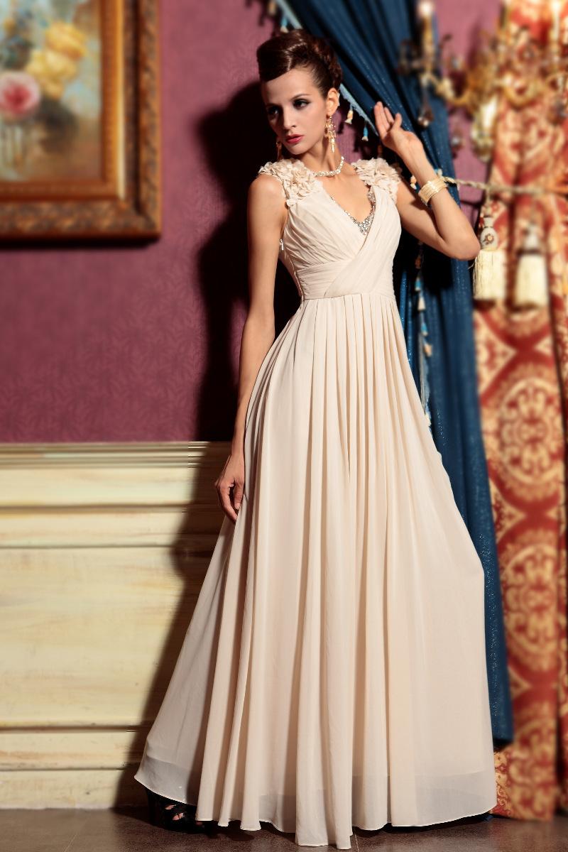 Бежевые вечерние платья фото