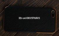 черный и золотой роскошный люкс хром кожаный чехол для iPhone 5 5г 5г