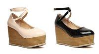Туфли на высоком каблуке 2012 autumn new sweet cross strap cow muscle wedge heels platform women pumps high heels, woman shoes, lady pumps