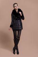 Женские пуховики, Куртки Real 100% Fox Collar New Luxury Women's Sheep Skin Fur Leather Down Coat Long Slim Jacket 0300792