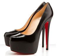 Туфли на высоком каблуке Daffodil 140mm/160mm Black belt buckle Genuine leather Platforms wedding wedding Pumps, red bottom shoes Woman