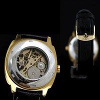 Mens Black &Gold Skeleton Watch CZ Stone Big Number