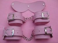 Бесплатные торговые 1115 розовый кожаный регулируемый три штук/устанавливает ваш handsb альпинистов глаз маска новизна продукта секс игрушки медицинской