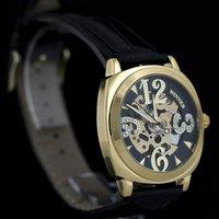 Наручные часы Mens Black &Gold Skeleton Watch CZ Stone Big Number