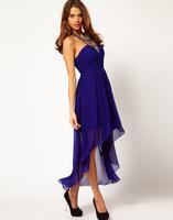 Платье на студенческий бал Bohemian Style Royal Blue Halter Top Backless High Low Prom Dresses 2013 Front Short Long Back Evening Dress