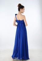 Женское платье New Fashion 2013 Plus Size Long Maxi Dresses Bohemian Women White Blue One Shoulder Chiffon Elegant S-XXL SD070