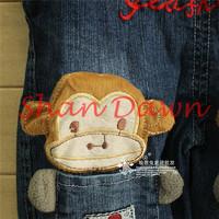 Детские Персонажи из джинсы Комбинезоны детские брюки суспендер, корейской версии мальчики милые обезьяны джинсовый комбинезон, v393