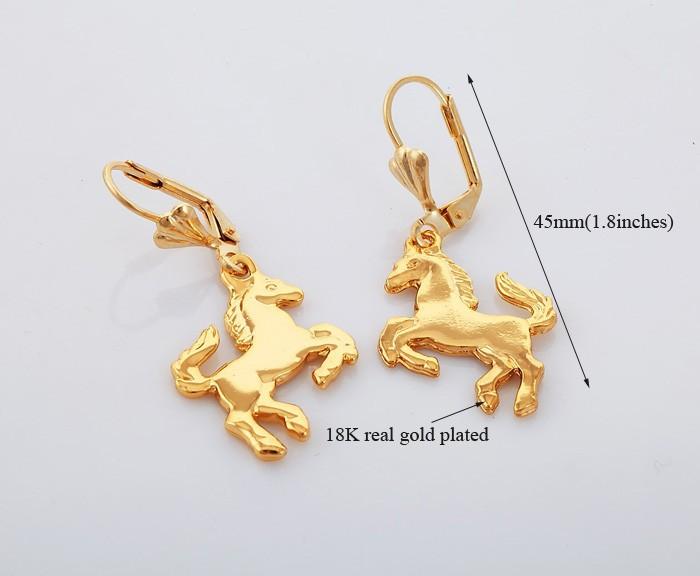 Покрытые золотом серьги-лошадки 88грн