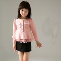 КНБ новейшая Детская Мода Одежда наборы вокруг шеи девочка принцесса верхняя одежда + черная мини-юбка одежда наборы acs015