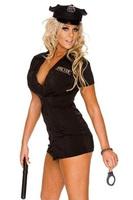 Сексуальные костюмы женщинам полиции единообразной взрослые костюмы, черный костюм с наручники