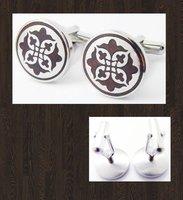 Free Shipping (OEM supplied) Wholesale & Retail Designer Wood Flower Round Stainless Steel Cufflinks RIMG4782