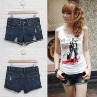 Женские джинсы 2013 denim shorts distrressed jeans holes scratched vintage shorts female