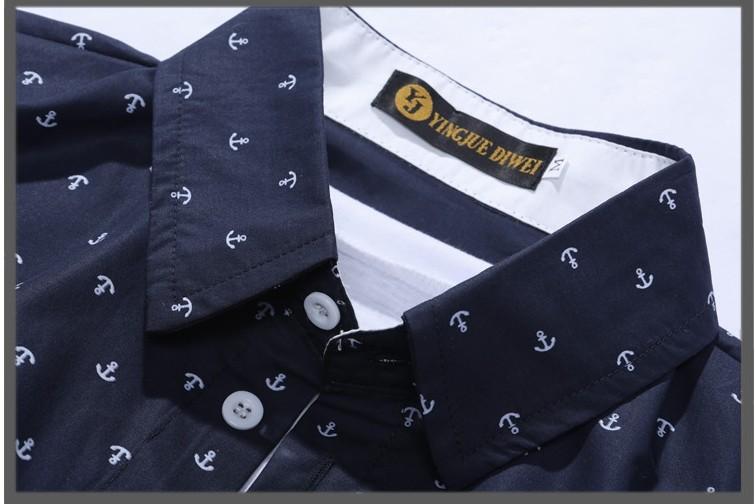 2014   Men's  Модный  Темно синий  Стиль  Printing  Хлопок Длинный  Рукав рубашка .ASIAN Размер  M / L / XL / XXL , G1914