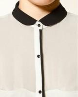 Женская одежда 2012 New fashion womens' elegant OL career chiffon blouse patchwork tops long sleeve casual t shirt slim brand design