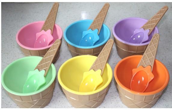 Colorful Ice Cream Bowls Ice Cream Bowl Spoon