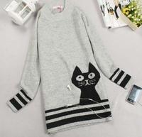 Новые прибытия женщин длинные свитера с милые кошки дамы пуловеры моды для зимы весна рождественские подарки