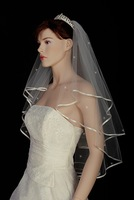 Свадебная фата 2T Ivory Wedding Bridal Veil Fingertip Pearl Crys 54rp