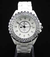 Наручные часы Elegant white Fashion Full Crystal Ceramic Women's Watch real Ceramic band, with box, T059