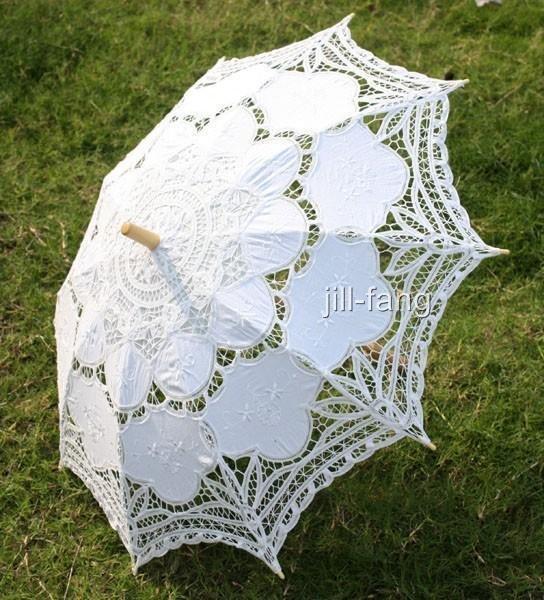 Battenburg White Lace Parasol Umbrella Wedding Bridal