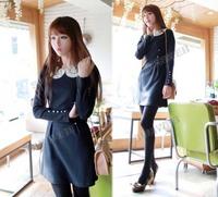 Women's Autumn Winter Sweet Cute Long Sleeve Dress Doll Collar Slim Princess Style free shiping 7946
