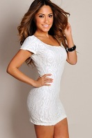 Потребительские товары New 2013 Women One Piece Dress Cotton Lace European American Style Sexy Short Sleeve Dress Clubwear White