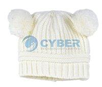Шапка для девочек Korean Drill Flower And Love Dual Ball Girls Single Ayer Baby Hat Wool Cap