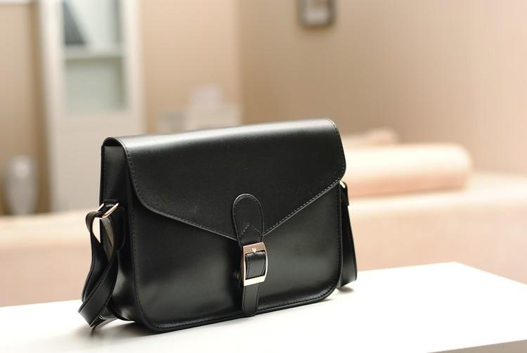 2Pcs Korea Style Envelope Single Shoulder Bag Black PU Leather