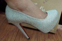 Туфли на высоком каблуке Factory seller 2011 new style shoes/dress shoes-women's shoes-golden 16cm crystal high heels-size:35-41