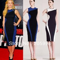 Женское платье 2014 Sexy Deep V Patchwork Bodycon tight office formal Celeb ZIP Business Fitted Party Pencil Dress D380 for retail