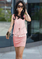 Женское платье 2013 New Womens Stylish Crewneck Chic Cotton Chiffon Tunic Causal Mini Sleeveless Dress 4 Colors 3678
