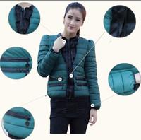 Женские пуховики, Куртки New winter Ruffled Lace O Neck Short Wadded Jacket Thicken Cotton Padded Clothes Coat L-XXL #3173