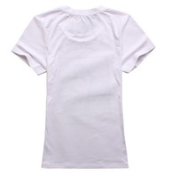 Free Shipping 2012 100% Cotton New White Fashion  O-Neck women t shirt/SIZE:S,M,L