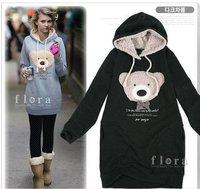 Женские толстовки и Кофты New Womens Hoodies Sexy Top Bear Designed Womens Sweatshirts Hoodies Colour: Pink, Blue, Black ONE SIZE