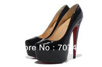 Туфли на высоком каблуке 16CM heel black patent women shoes