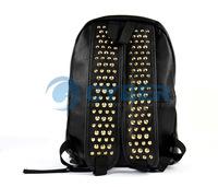 2Pcs/Lot Black Rivet Backpack Women's Shoulder Bag Casual PU Leather School Bag Free Shipping 6482