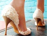 Туфли на высоком каблуке BS035 princess white rose flower high heel sandals party shoes wedding shoes