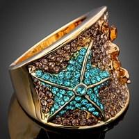 Arinna ювелирные изделия с горный хрусталь кристаллы элемент моды multi кристалл золота gp палец кольцо бабочка кольца j0185