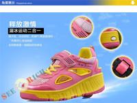 Кроссовки для мальчиков Boys&Girls Missile shoes Students automatic roller shoes Children Single wheel heelys Skateboard shoes Breathable wear-resisting Искусственная кожа