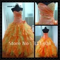 Детское платье 2013 Designer Custom Made Flowers Decoration A Line Mid Calf Length Popular Flower Girl Dress