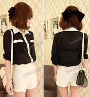 Одежда и Аксессуары 5pcs/lot Casual Women T-Shirt Girl Pan Collar Long Sleeve Shirt Chiffon Blouse Top Black White Blue 9174