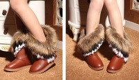 2012 New Fashion Autumn And Winter High Long Boots Fox Fur Rabbit Fur Snow Boots Leather Tassel Women's Shoes