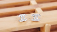Серьги-гвоздики B2101 Woman Girl Fashion Jewelry Super Star Crystal Double TWO 2 CC Stud Earrings