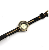 free shipping Fashion big digital vintage reminisced women's girls genuine leather watchband watch