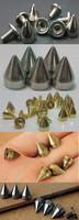 100pcs Silver Metal Bullet Rivet Spikes Stud Punk Bag Belt Leathercraft Accessories DIY Free Shipping
