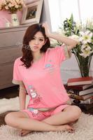 Women's Sweet Balloon Pattern Pajamas Set Short Sleeve Top + Short Pants Sleepwear Home Wear 14105