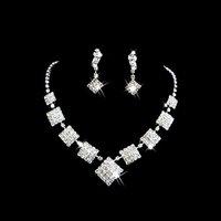 Ювелирный набор Lowest price Wedding Jewelry New Wedding Bridal Crystal Rhinestone Necklace Earrings set xl-064