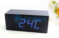 Будильник New Modern Wooden Wood Digital Blue LED Calendar Thermometer Voice Alarm Clock