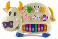 cartoon electronic organ Dairy cow baby toys multi function zither wholesale
