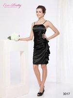 03017BK Free Shipping Fabulous Black Satin Ruffle Cocktail Dress